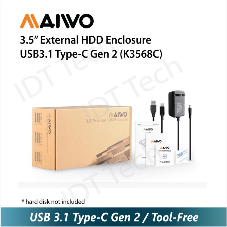 "MAIWO 3.5"" External HDD Enclosure USB3.1 Type-C Gen 2 (K3568C)"