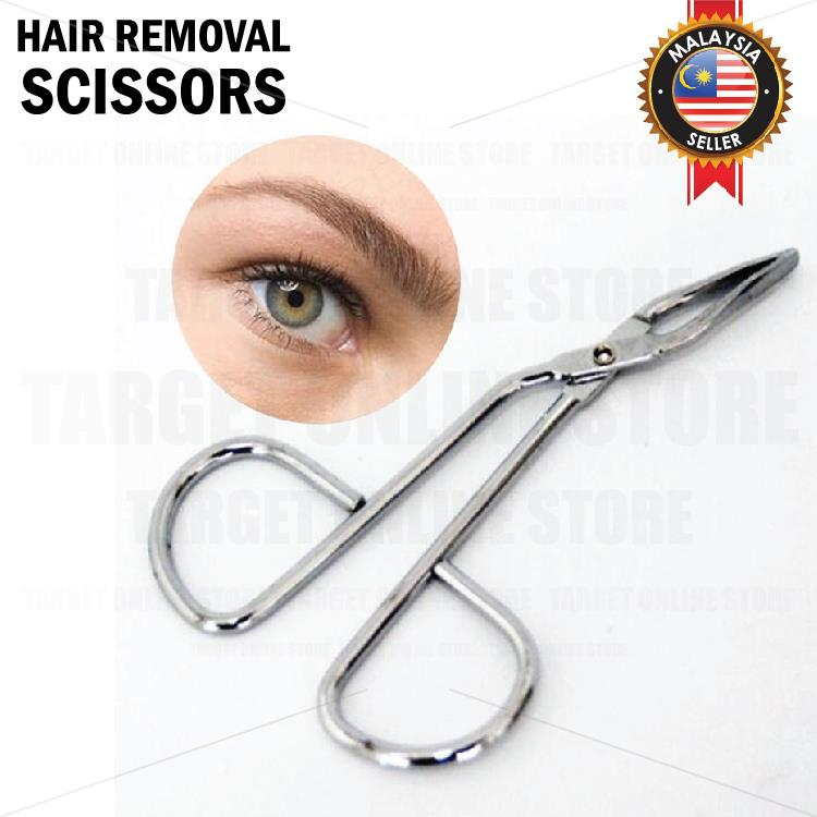 Makeup Scissor Hair Removal Tweezer Clamp Clip Flat Tip Eyebrow Beauty