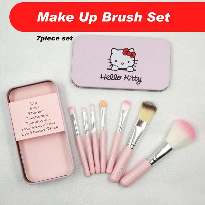 91023e12b Makeup Set Hello Kitty Brush 7 Pieces Brush Set With Iron box. ‹ ›
