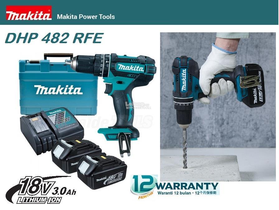 Makita 18V 3 0Ah 13mm (1/2') Cordless Hammer Driver Drill