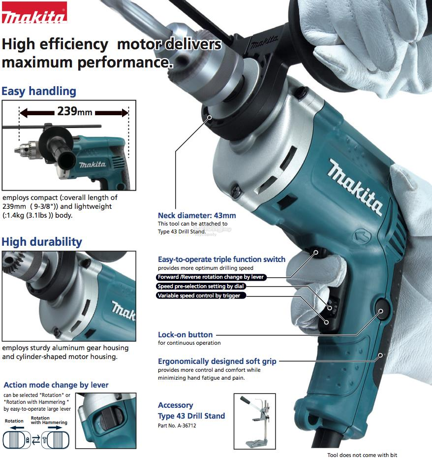 Makita HP1630 16mm (5/8′) Hammer Drill 710W