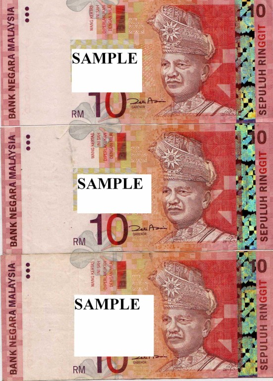 Malaysia 10 Ringgit notes flash paper(Set of 3)