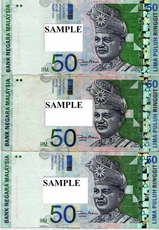 Malaysia 50 Ringgit notes flash paper(Set of 3 and Set of 6)