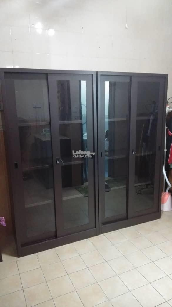Malaysia Filing Cabinet: Full Height Glass Sliding Door Cupboard