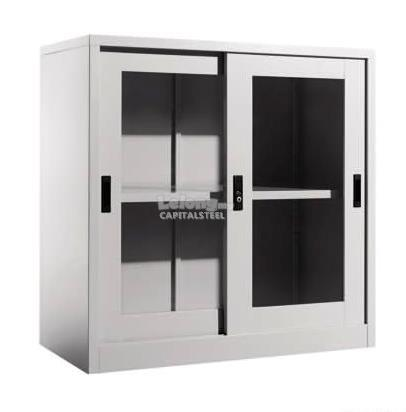 Malaysia Filing Cabinet: Half Height Glass Sliding Door Cabinet