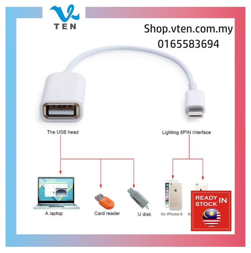 Male to USB Female OTG Cable For iPhone 6 Ipad Connector Kabel