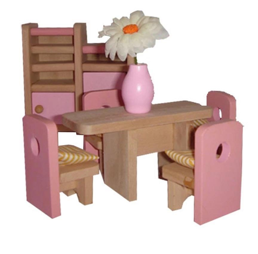 Mamakiddies Pink Wooden Doll House Furniture Set Of 6 Rooms