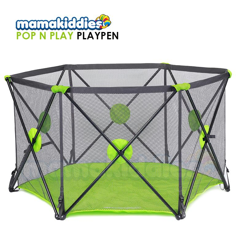 Mamakiddies Pop 'N Play Portable Easy Foldable Playard Playpen