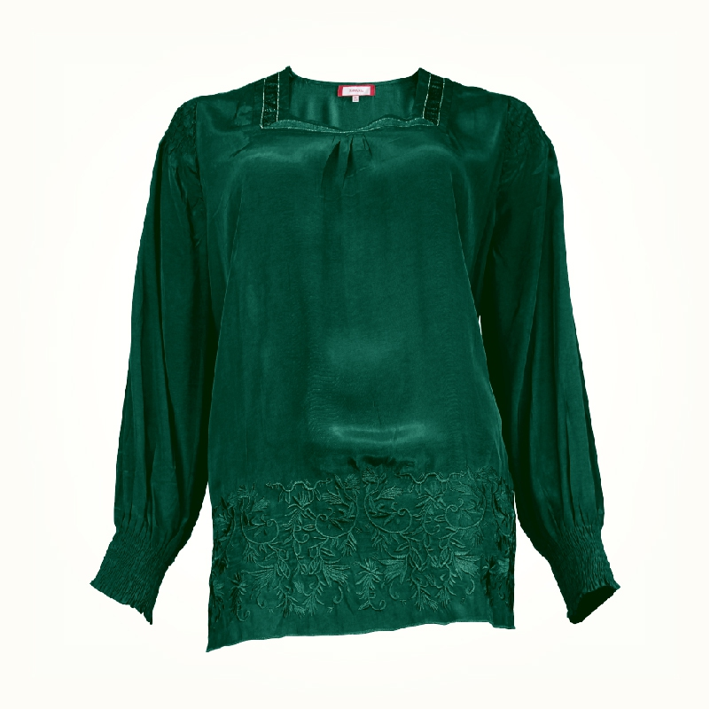 MAMAMIA PLUS SIZE LADY'S BLOUSE WITH EMB C025 MMP9036 (PROMOTION GREEN)