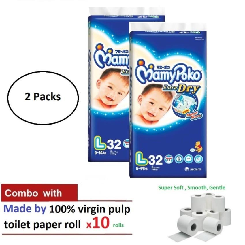 MamyPoko extra dry tape diaper 2 packs L32 Jumbo pack COMBO with 10 Ro