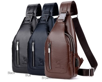 Man Classic Leather USB Chest Pouch Men Crossbody Stylish Sling Bag