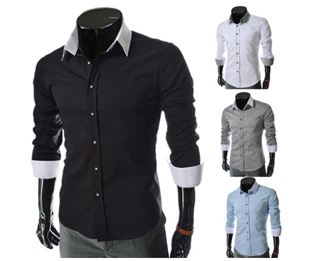 MAN L678 KOREAN FEEL CASUAL COLAR LONG SLEEVE MEN SHIRT BAJU LELAKI