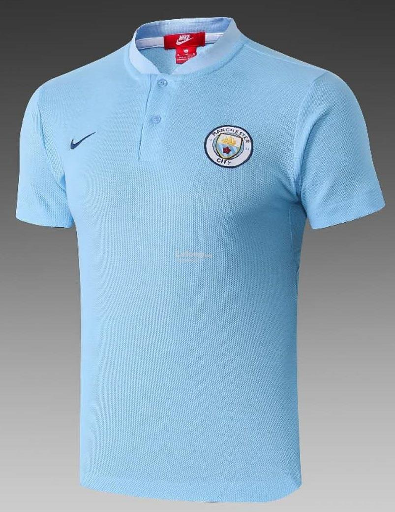 Manchester City FC Official Gift Mens Striped Polo Shirt Blue