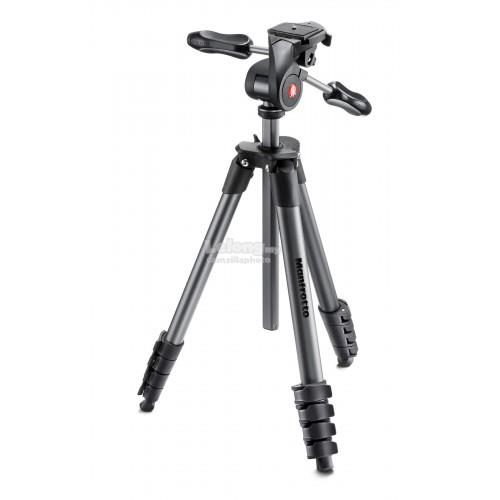 MANFROTTO Compact Advanced aluminium tripod with 3-way head Black