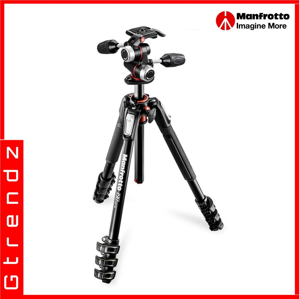 Manfrotto MK190XPRO4-3W 190 Aluminium 4-Section Tripod Kit