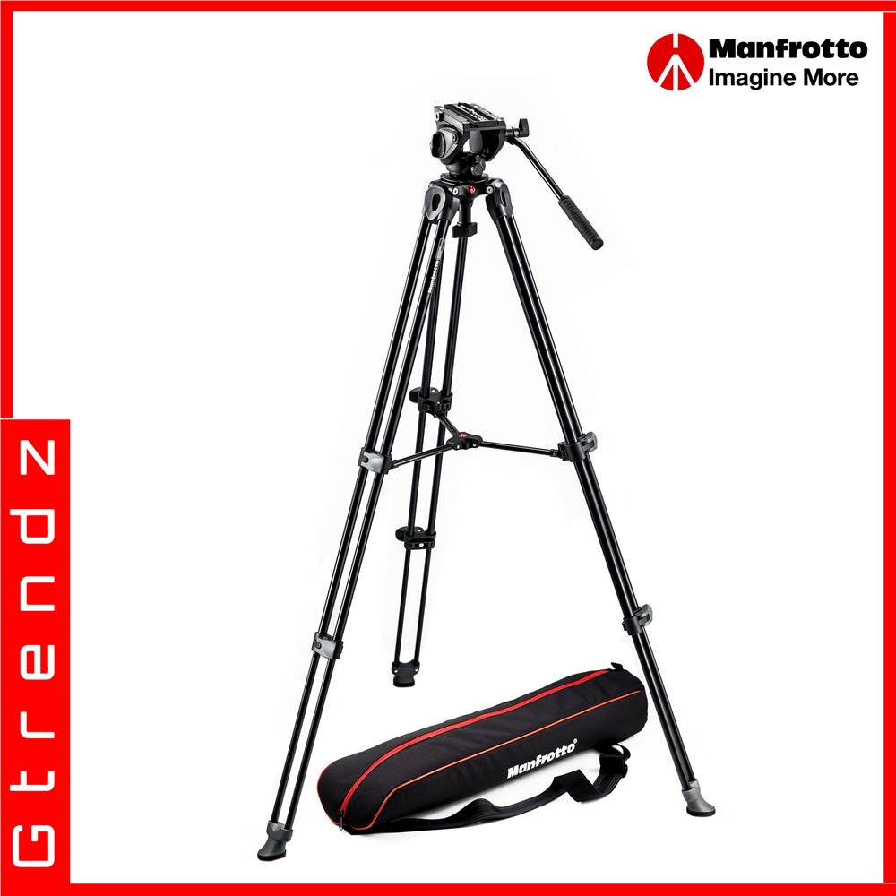 Manfrotto Tripod with fluid video head Lightweight with Side Lock