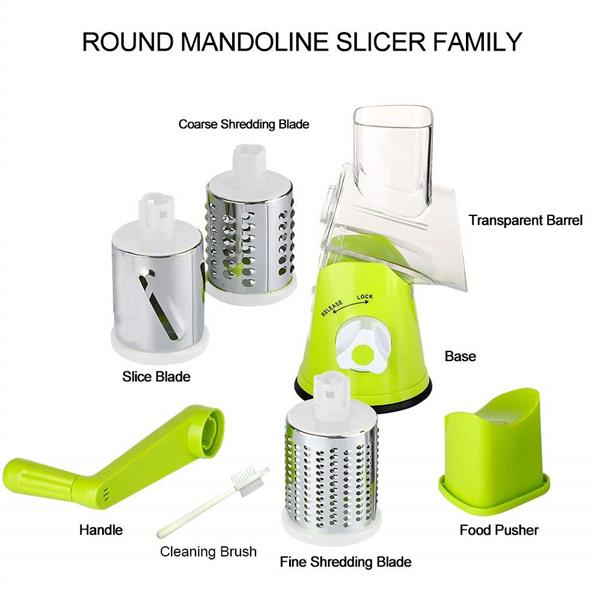 Manual Hand Speedy Rotary Drum Vegetables Fruit Cutter With 3 Blades