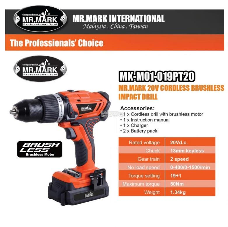 Mr.Mark 20V Li-ion 13mm Cordless Brushless Impact Drill