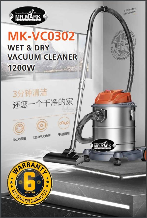 Mr.Mark MK-VC0302 1.2kW 20L Inox Wet & Dry Vacuum Cleaner