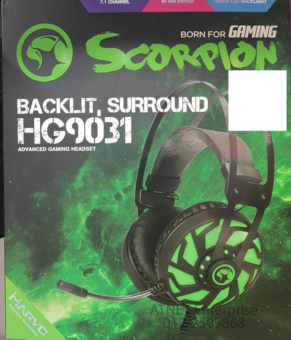 MARVO HG9031 ADVANCED USB 7.1 GAMING HEADSET GREEN BACKLIGHT