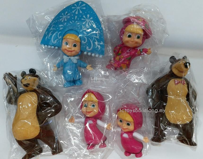Masha and The Bear Toy Figures. Masha Large Figurine Cake Topper 6pcs