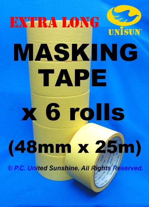 MASKING TAPE EXTRA LONG 48mm x 25m L x 6 ROLLS Paper Adhesive Packing
