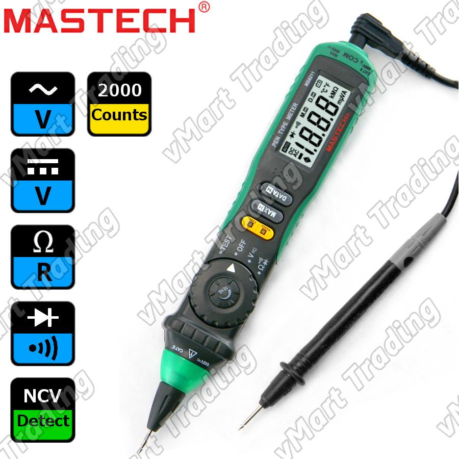 Mastech MS8211 Pen Type Multimeter + Non-contact Voltage Detector