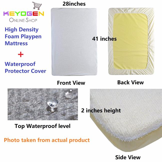 Masterfoam Baby playpen High Density Mattress + Waterproof protector