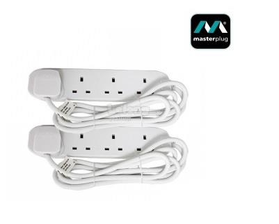 MasterPlug 4 Gang Extension Leads 1Meter *2 Pack (BFG1N-2)