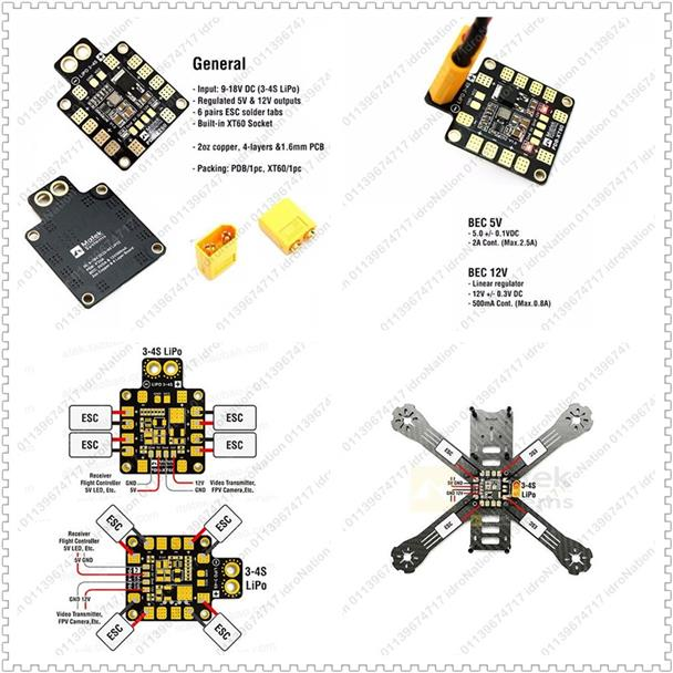 MATEK Power Distribution Board PDB XT60 BEC 5V/12V For Racing Drone