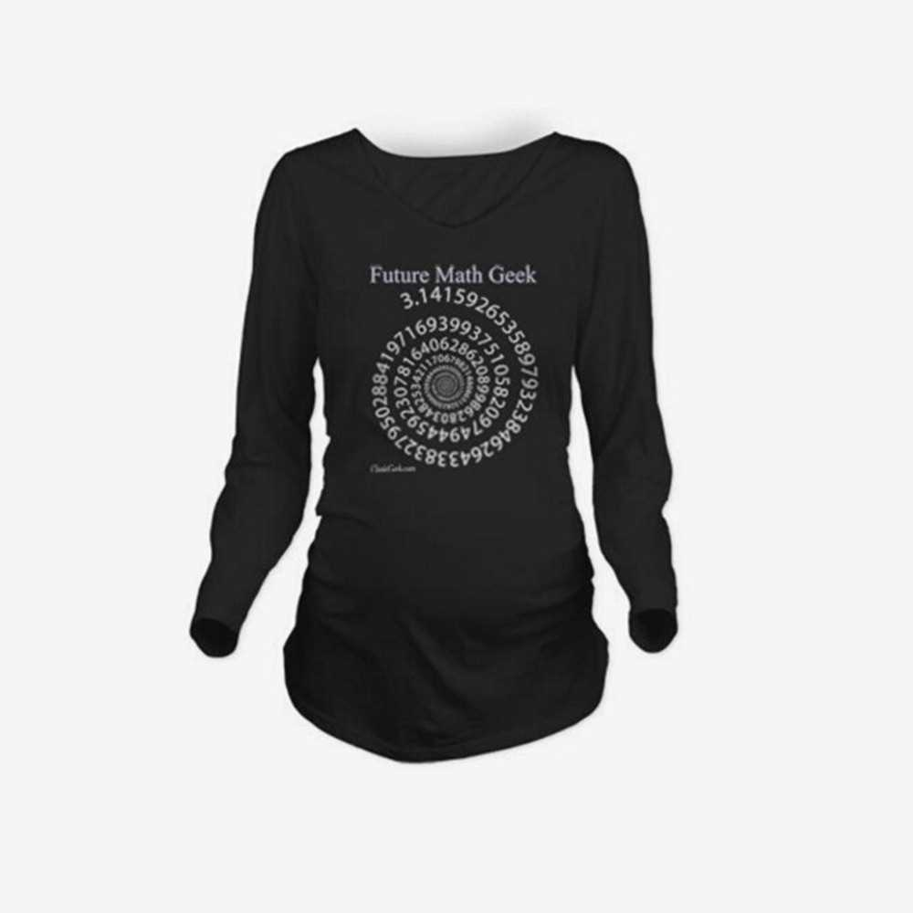 Maternity Shirt Long Sleeve O-Neck Future Math Geek Print Funny Pregnancy Mom
