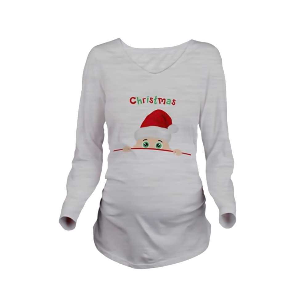 Maternity Christmas Shirt.Maternity Shirt Long Sleeve Pregnancy Mom Tops Tee Christmas Santa