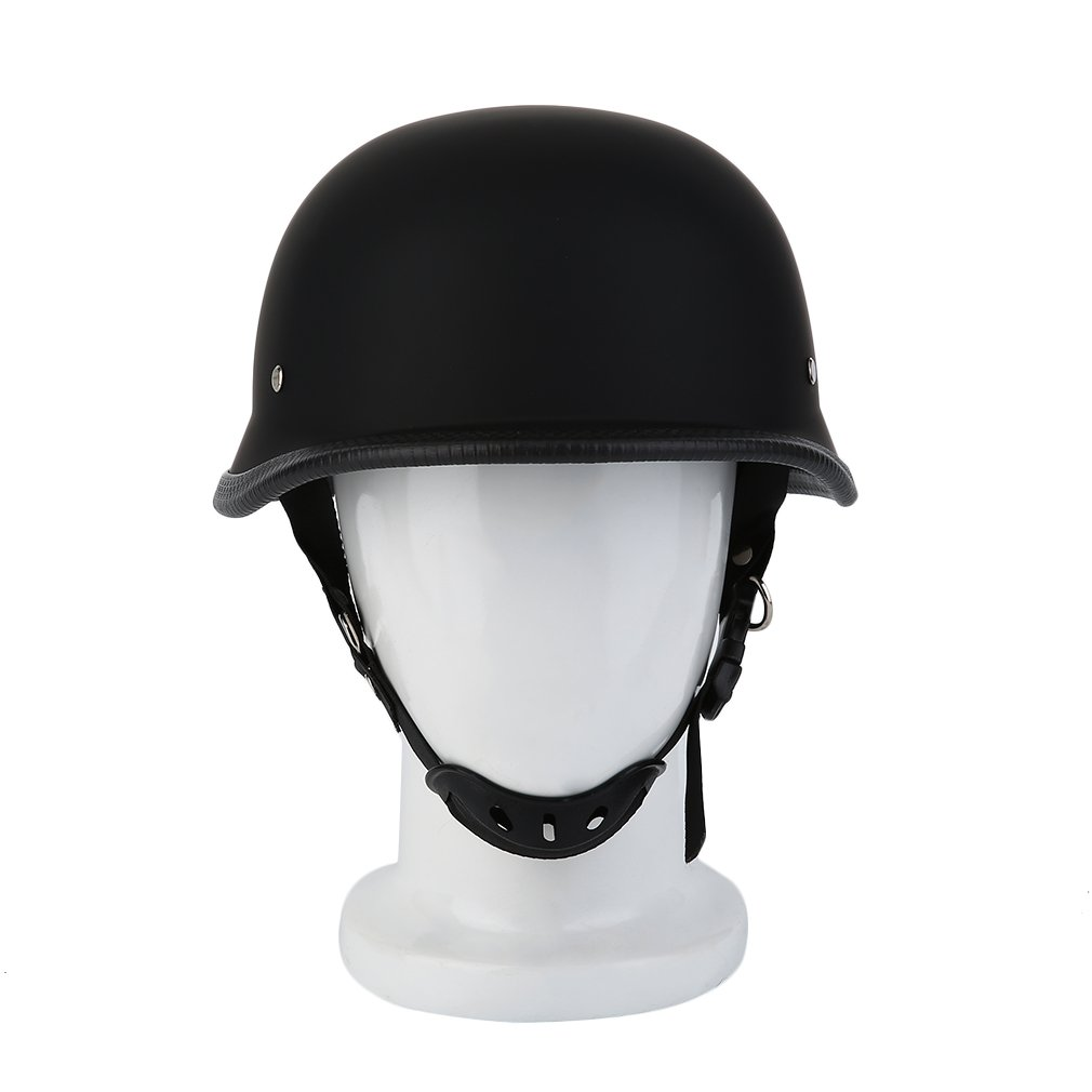 Matte Black German Style Vintage Motorcycle Helmet Half Face German He..