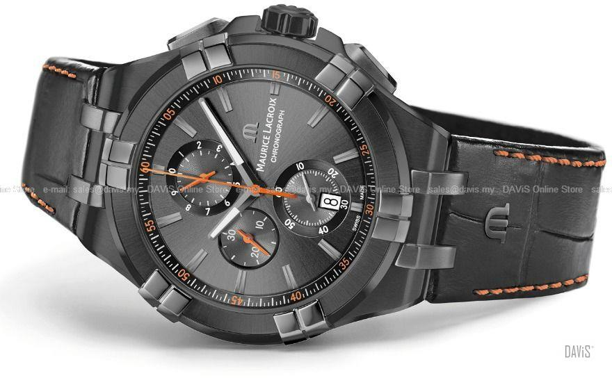 MAURICE LACROIX AI1018-PVB01-334-1 Aikon Chronograph Leather Black
