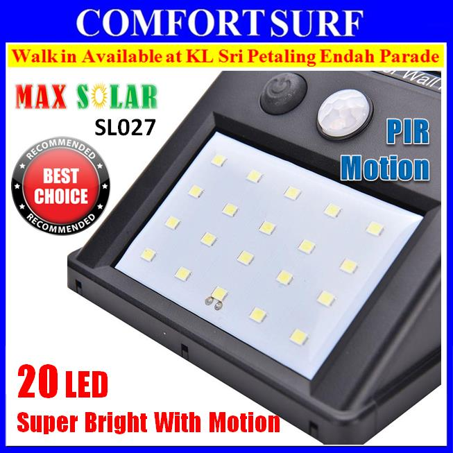 Max Solar SL027 20LED Wireless Security Motion Sensor Garden LED Light