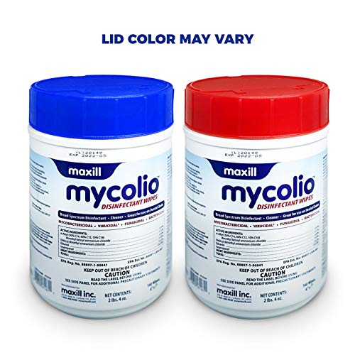 "Maxill Mycolio Hospital Grade Disinfectant Wipes 160 Wipes - 6 "" x 7"" -"