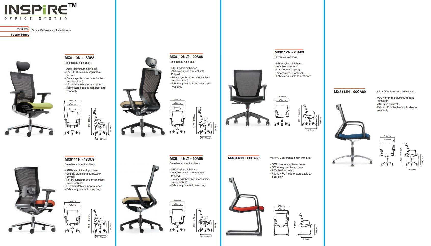 Maxim Series Fabric Visitor Mesh Office Chair