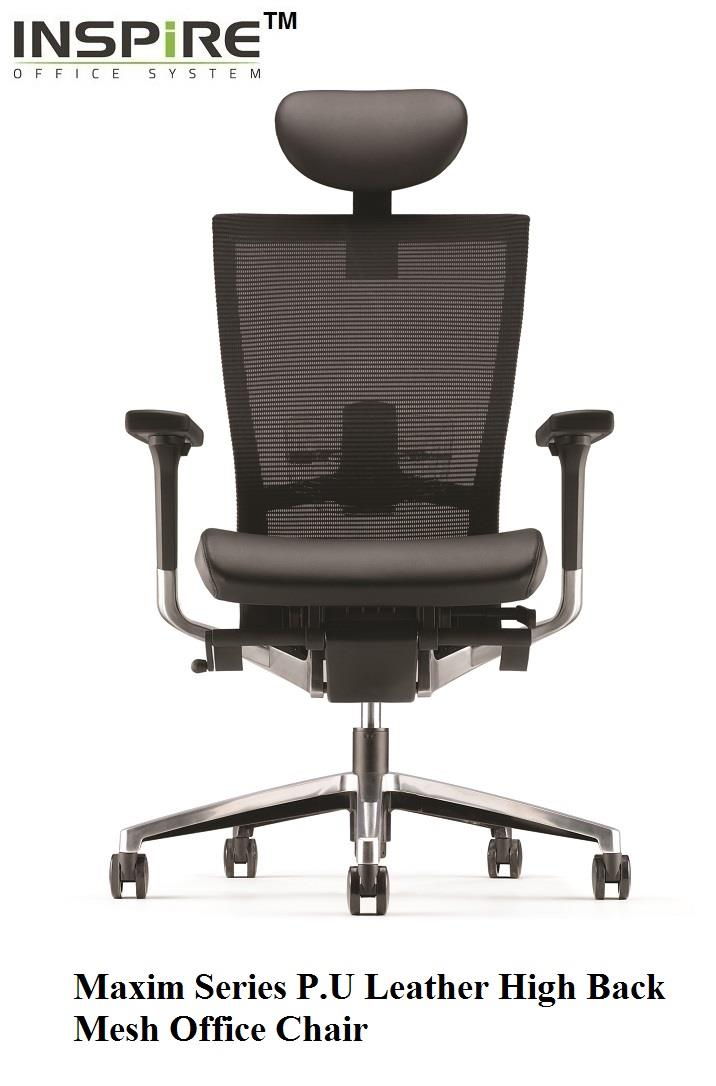 Maxim Series P.U Leather High Back Mesh Office Chair