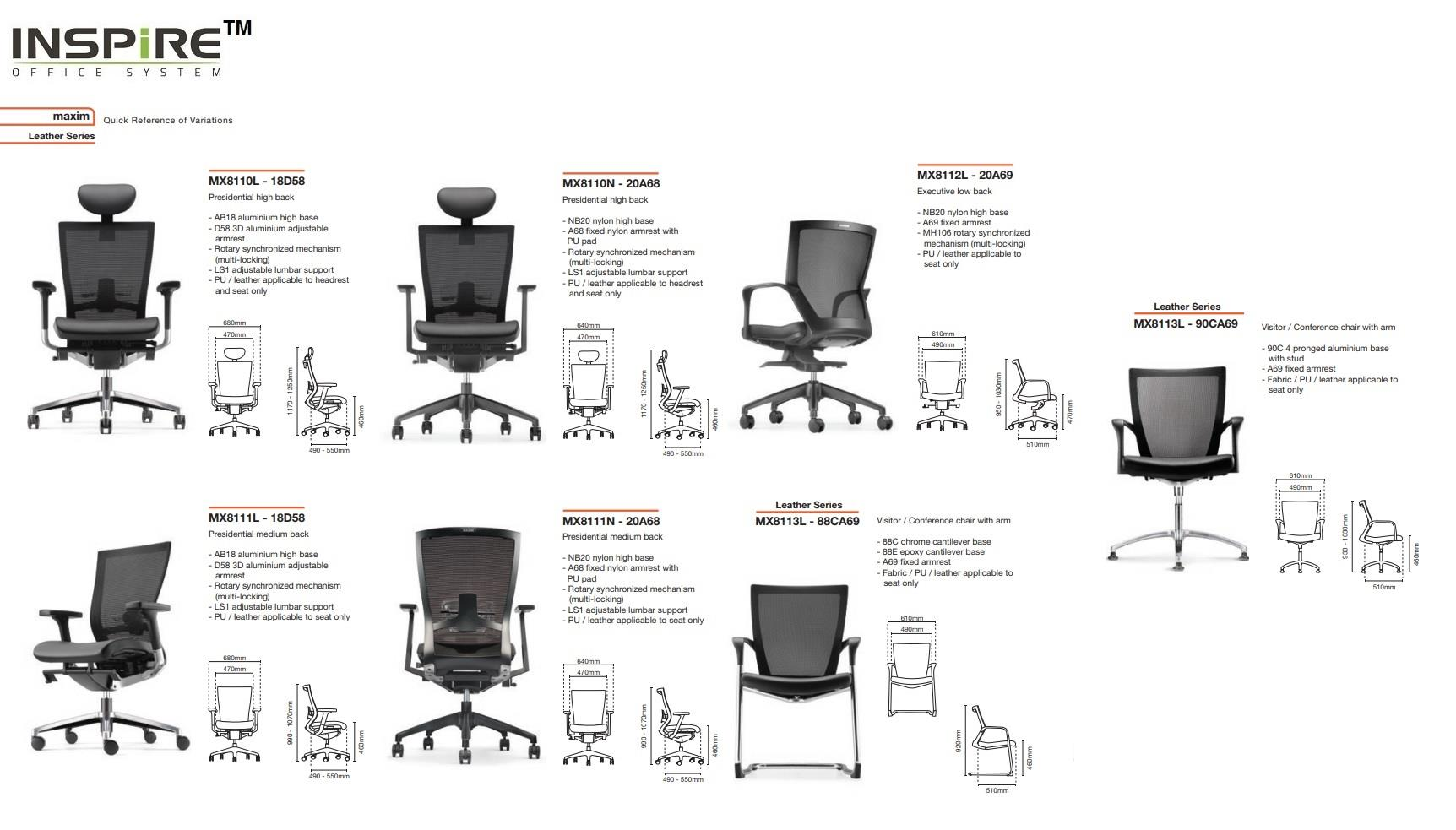 Maxim Series P.U Leather Visitor Mesh Office Chair