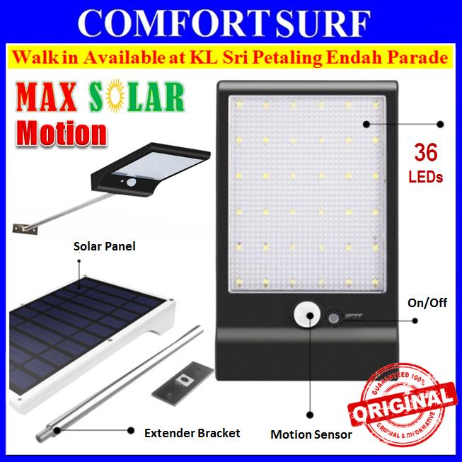 MaxSolar SL025 Motion Sensor 36 LED Light 3 Modes Wall Street Lamp