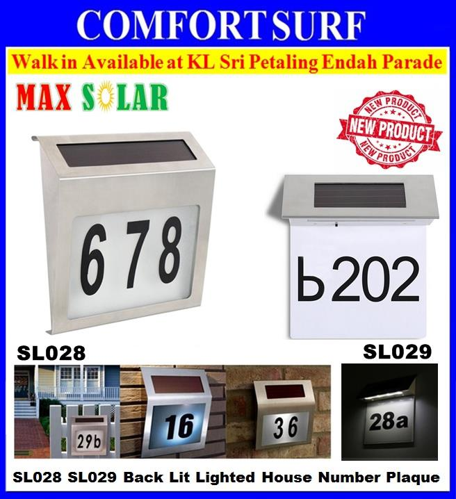 MaxSolar SL028 SL029 Solar Powered LED Light Sign House Number Plaque