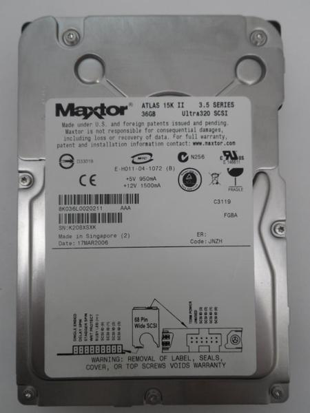 Maxtor Atlas 15k II SCSI 0R4785 Ultra320 36gb 80pin Hard Disk HDD Used