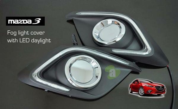 MAZDA 3 BM 14  15 LED DRL + Dimmer + Auto On Fog Lamp Cover. U2039 U203a