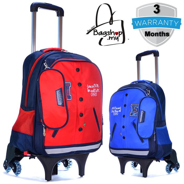 Mc113 6 Wheels Kids Trolley Backpack Baseball Theme Bag H3
