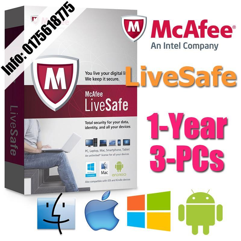 McAfee LiveSafe 2017 1YEAR 3PC Internet Security AntiVirus anti virus
