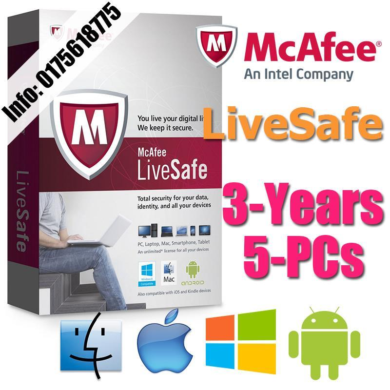 McAfee LiveSafe 2017 3YEAR 5PC Internet Security AntiVirus anti virus