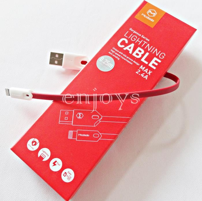 MCDODO 25CM Power Bank Short Charging Cable iPhone 7 6 6S Plus 5S 5 ~R