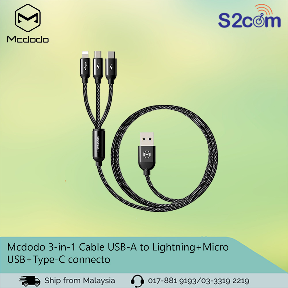 Mcdodo 3-in-1 Cable USB-A to Lightning+Micro USB+Type-C connector(CA-3