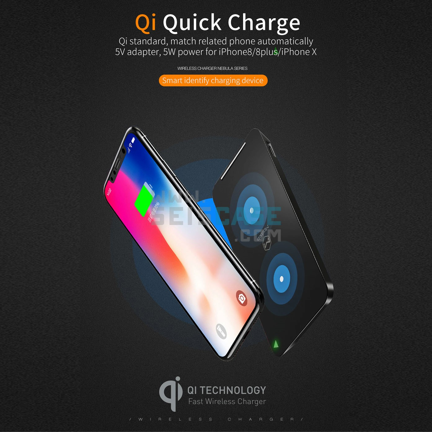 new product 55502 fda6d MCDODO iPhone 8 Plus X Nebula Qi Quick Charge Wireless Charging Pad