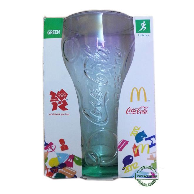 McDonald's Coke Cola London Olympics 2012 Glass 16oz Green Athletics